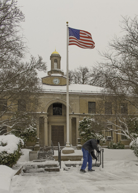 Glen Ridge City Hall gets cleared of snow.