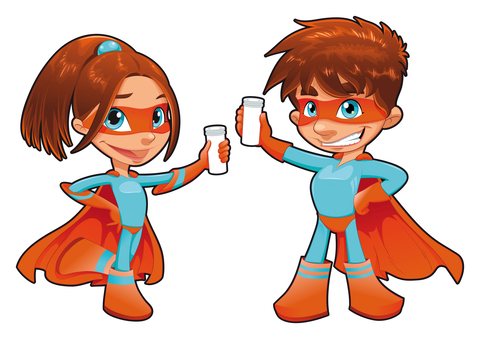 SuperGirl and SuperBoy with phials in their hands.