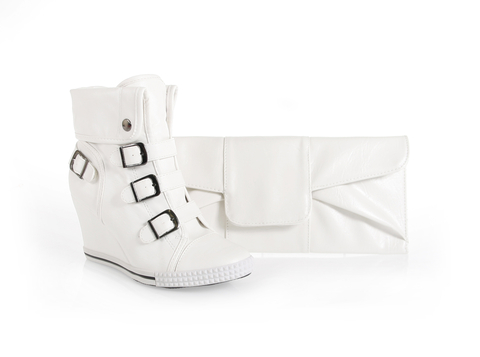 White sneaker shoe and clutch bag