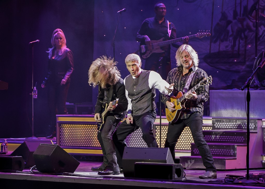 August Zadra, Dennis DeYoung and Jimmy Leahey on stage at the Wellmont January 22, 2016