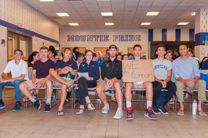 Members of Montclair High School's Crew team gather to show their support for Gannon. Photo by Eve Mahaney for The Montclair Dispatch.