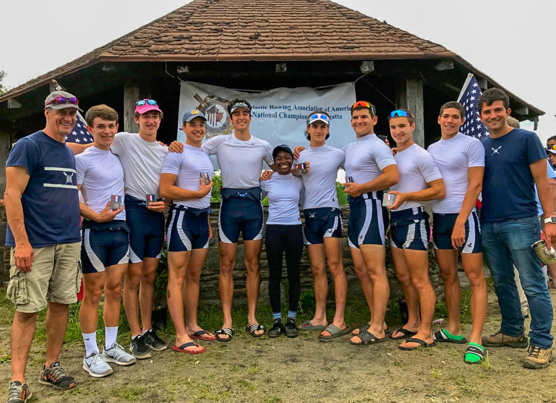 The Boys 2nd Varsity 8 with their medals. Photo courtesy of Montclair Crew.