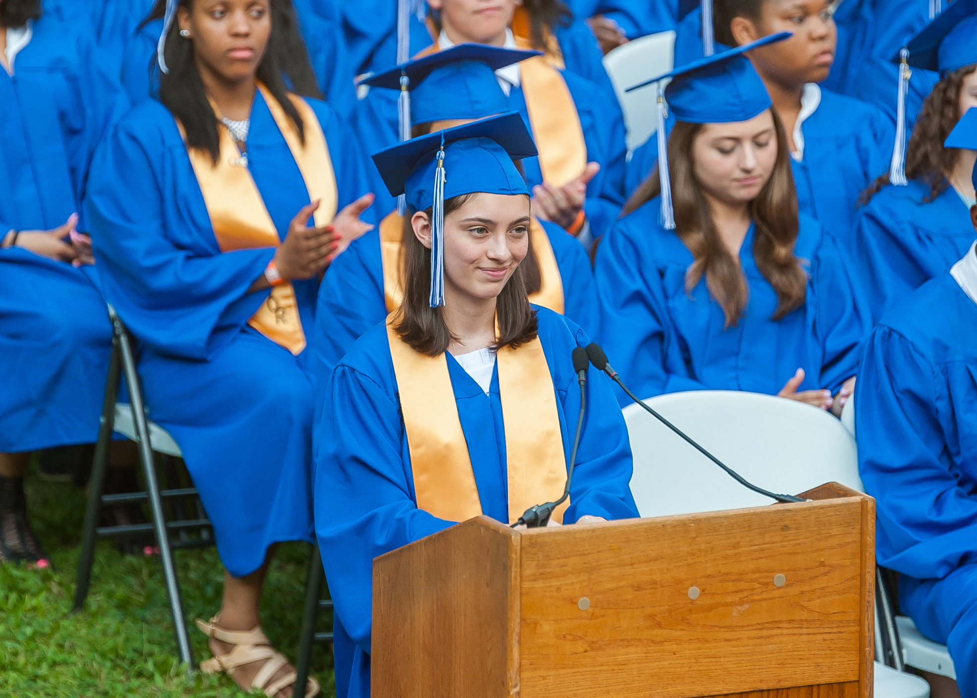 Class President Cristi Kennedy giving her speech. Photo by Scott Kennedy for The Montclair Dispatch.
