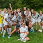 Montclair JV Girls Soccer team celebrates their 3:1 victory over West Essex on Sept. 18, 2017