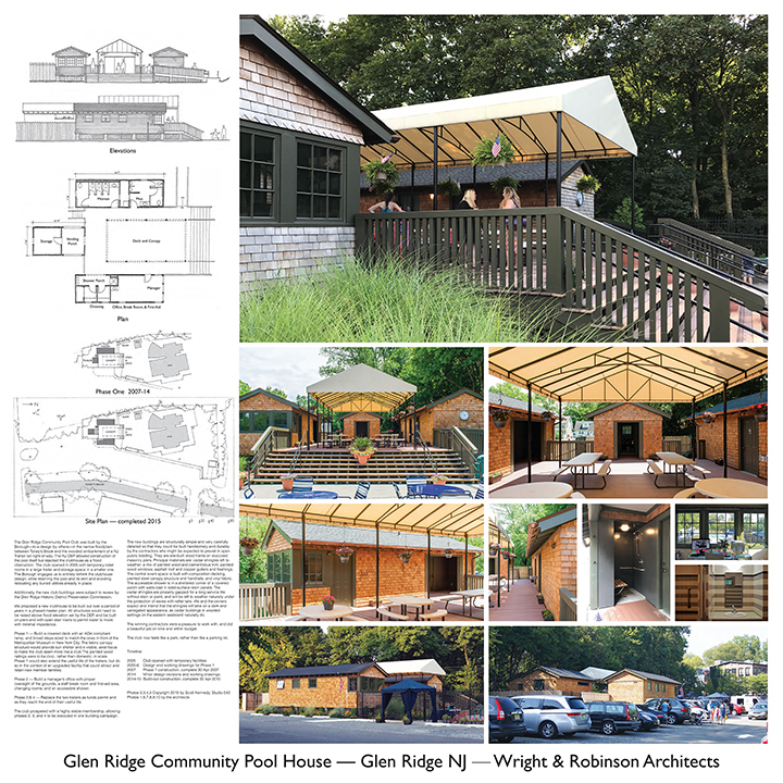 Glen Ridge Community Pool House presentation plate as entered by Wright & Robinson Architects. Image: Mark Wright/Wright & Robinson Arch.