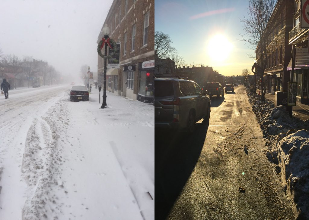 Eestbound Bloomfield Avenue before and after plowing, Image/Montclair Dispatch