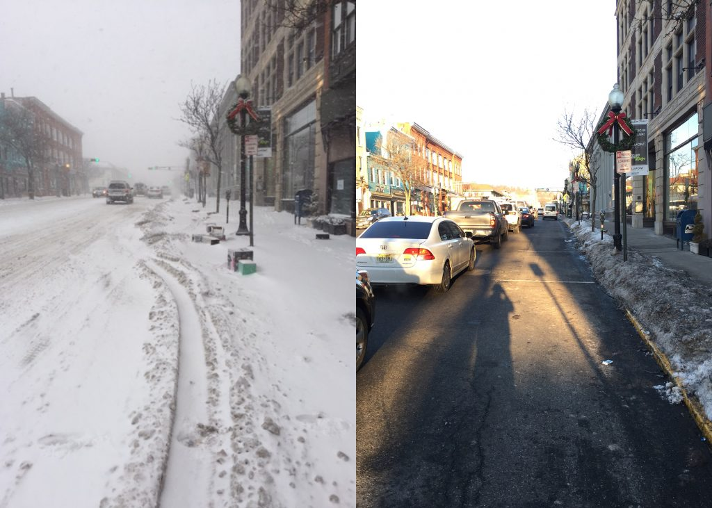 Westbound Bloomfield Avenue before and after plowing