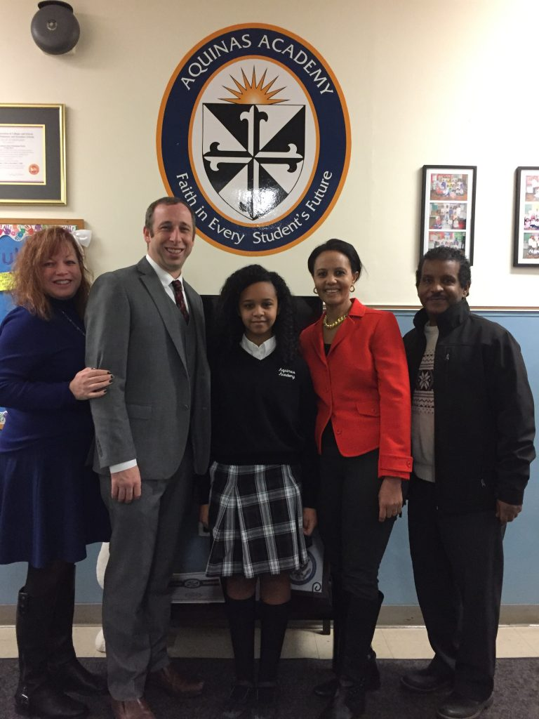 Mia Aymar-Smith - Treasurer of MAF, Mr. John Cohrs - Principal of Aquinas Academy, Mesgana and mom Helen and dad Samson.