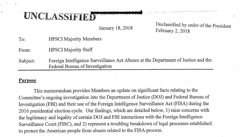 The header of the Memo released February 2, 2018