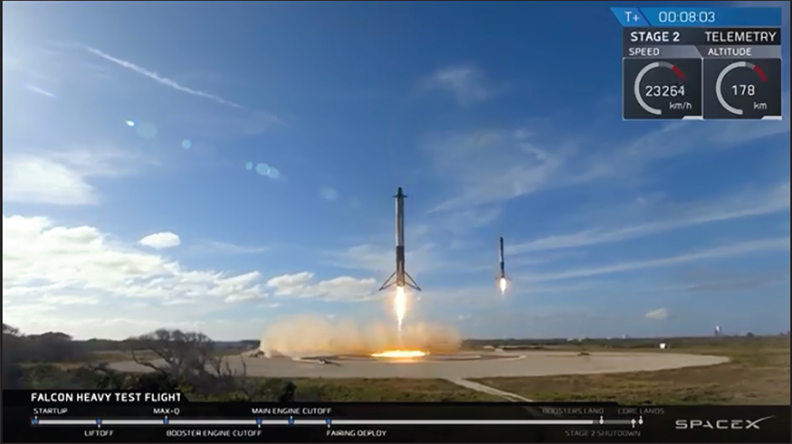Near simultaneous landing of the two independent side rockets, Image SpaceX