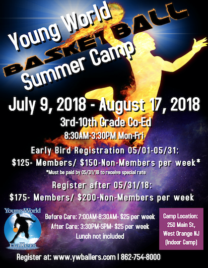 Young World Summer Basketball Camp Info // Graphics Courtesy of Lammar Young