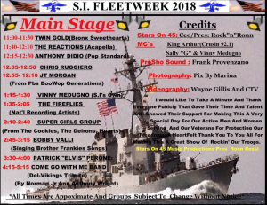 Fleet Week Performance Schedule Includes Bobby Valli on the Main Stage // Graphics Courtesy of Carol Castelluccio