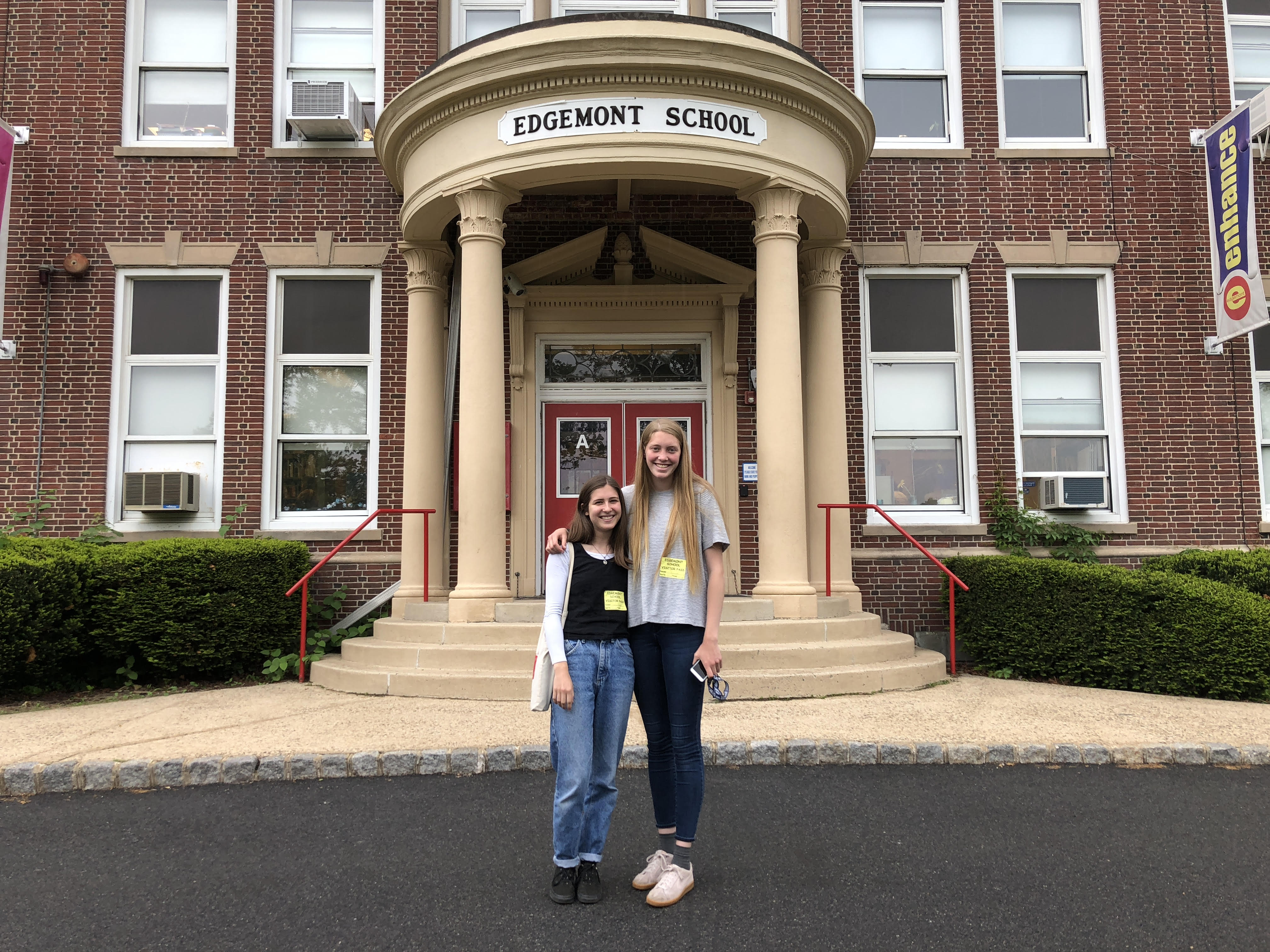 Kayla Phillips (left) and Lily Kelleher (right), Outside of Edgemont Elementary School // Photo Courtesy of