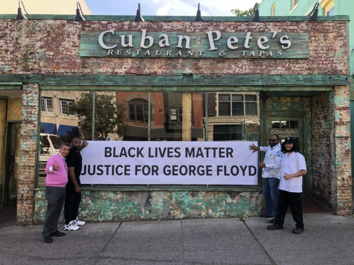 Cuban Pete's Hangs Banner to Support Black Lives Matter